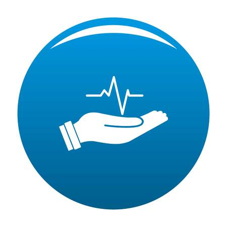 Heartbeat icon. Simple illustration of heartbeat icon for any design blue Stock Photo