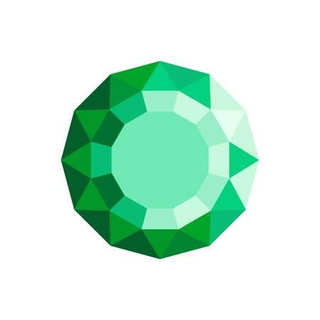 Emerald diamond icon. Flat illustration of emerald diamond icon for web. Stock Photo