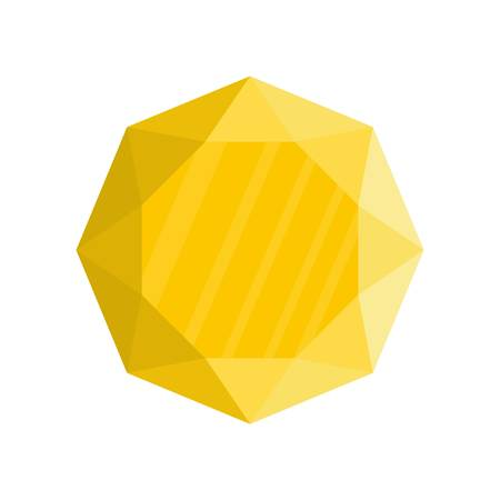 Yellow jewel icon. Flat illustration of yellow jewel icon for web.