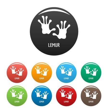 Lemur step icons set color