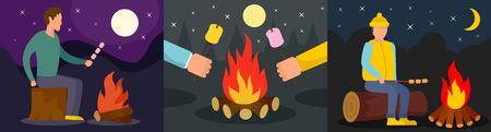 Marshmallow roasted bonfire man banner concept set. Flat illustration of 3 marshmallow roasted bonfire man banner horizontal concepts for web