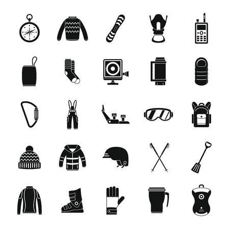 Snowboarding equipment ski winter snow icons set. Simple illustration of 25 snowboarding equipment ski winter snow icons for web