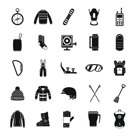 Snowboarding equipment ski winter snow icons set. Simple illustration of 25 snowboarding equipment ski winter snow icons for web