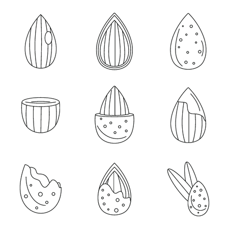 Almond walnut oil seed icons set. Outline illustration of 9 almond walnut oil seed icons for web Stock Illustration - 106031318