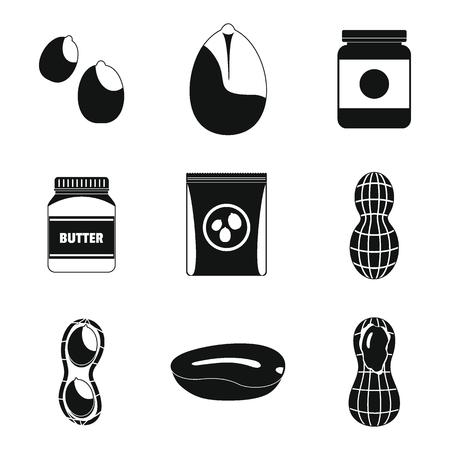 Peanut nuts butter jar icons set. Simple illustration of 9 peanut nuts butter jar icons for web