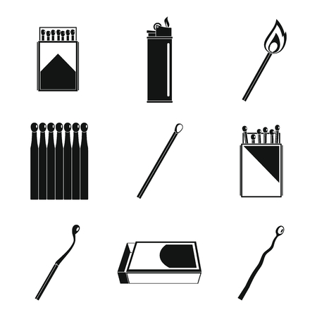 Safety match ignite burn icons set. Simple illustration of 9 safety match ignite burn icons for web