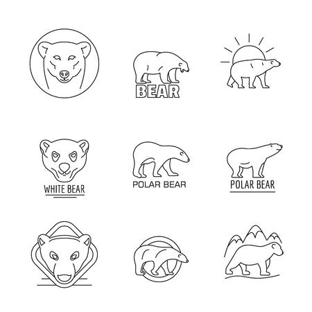 Polar bear baby white icons set. Outline illustration of 9 polar bear baby white icons for web