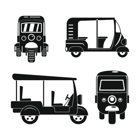Tuk rickshaw Thailand icons set. Simple illustration of 4 tuk rickshaw Thailand icons for web