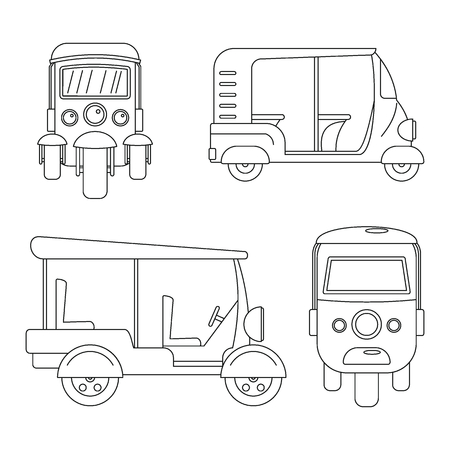 Tuk rickshaw Thailand icons set. Outline illustration of 4 tuk rickshaw Thailand icons for web Stock Photo