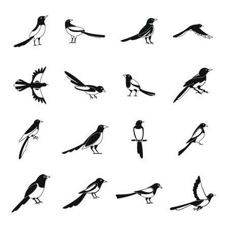 Magpie crow bird icons set. Simple illustration of 16 magpie crow bird icons for web