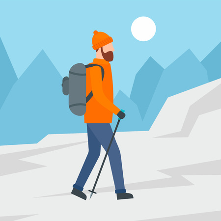Man walking in mountain background. Flat illustration of man walking in mountain background for web design Banque d'images - 106032479