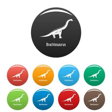 Brachiosaurus icons set color Imagens