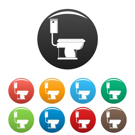 Toilet icon. Simple illustration of toilet icons set color isolated on white
