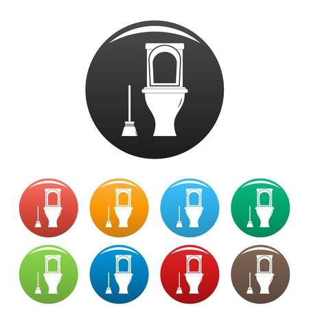 Cleaning toilet icons set color Stock Photo