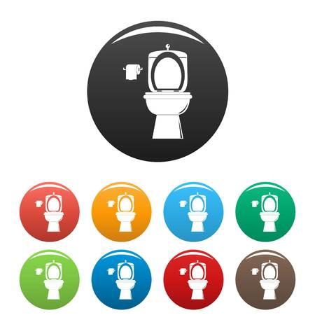 Ceramic toilet icons set color