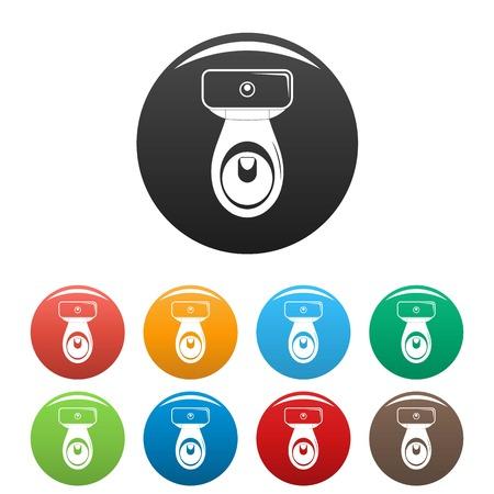 Restroom icons set color