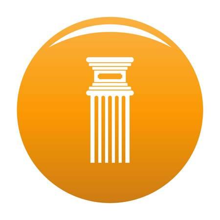 Antique column icon. Simple illustration of antique column icon for any design orange Stock Photo