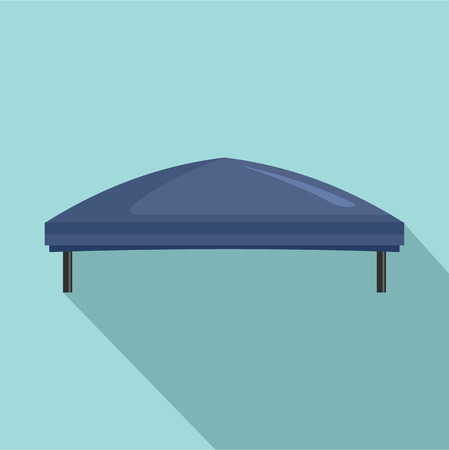 Outdoor blue tent icon. Flat illustration of outdoor blue tent icon for web design