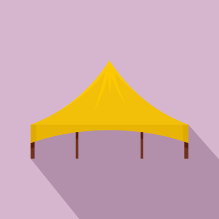 Yellow tent icon. Flat illustration of yellow tent icon for web design