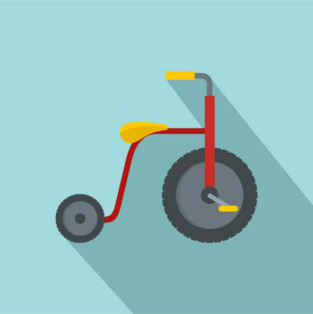 Red tricycle icon. Flat illustration of red tricycle icon for web design