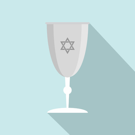 Silver judaism cup icon. Flat illustration of silver judaism cup icon for web design Stock Photo