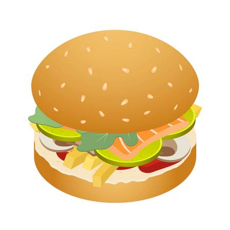 King of burger icon, isometric style