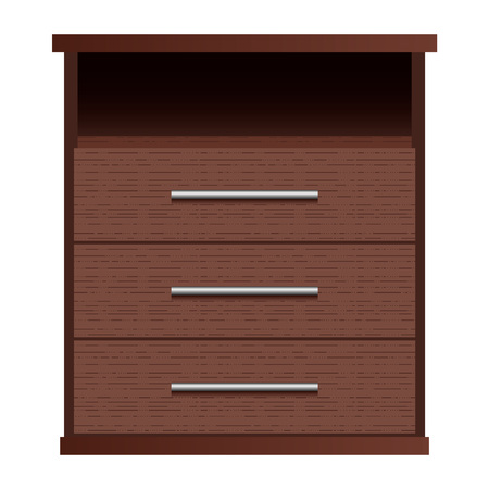 Brown drawers mockup, realistic style