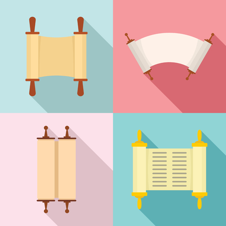 Torah scroll book bible shavuot icons set. Flat illustration of 4 Torah scroll book bible shavuot vector icons for web