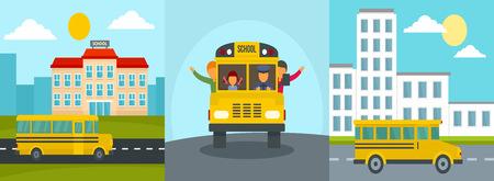 School bus back kids banner concept set. Flat illustration of 3 school bus back kids vector banner concepts for web Ilustração