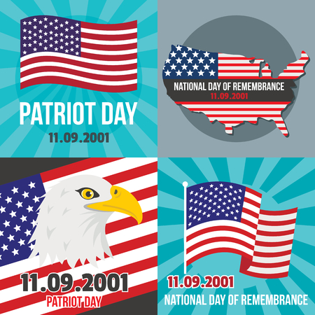 Patriot day banner concept set, flat style