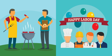 Labor Day workers celebration banner concept set. Flat illustration of 2 Labor Day workers celebration vector banner concepts for web Çizim