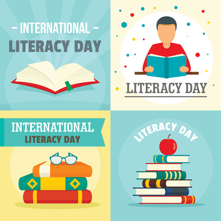 Literacy Day book banner concept set, flat style