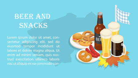 October fest beer snack banner, isometric style