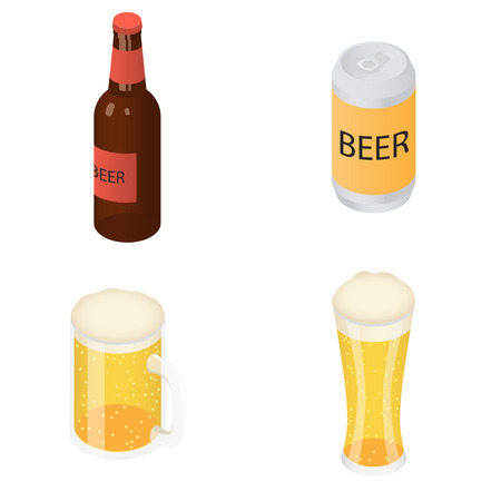 Beer bottles glass icons set, isometric style