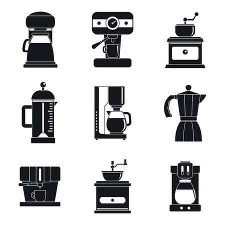 Coffee maker pot espresso cafe icons set. Simple illustration of 9 coffee maker pot espresso cafe vector icons for web