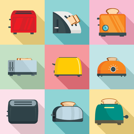 Toaster kitchen bread gourmet oven icons set. Flat illustration of 9 toaster kitchen bread gourmet oven vector icons for web