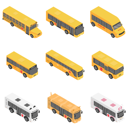 School bus back kids icons set. Isometric illustration of 9 school bus back kids vector icons for web Ilustração