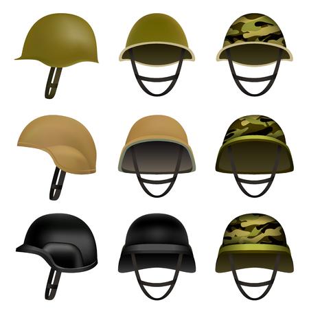 Army helmet soldier military hat mockup set. Flat illustration of 9 army helmet soldier military hat vector mockups for web Illustration