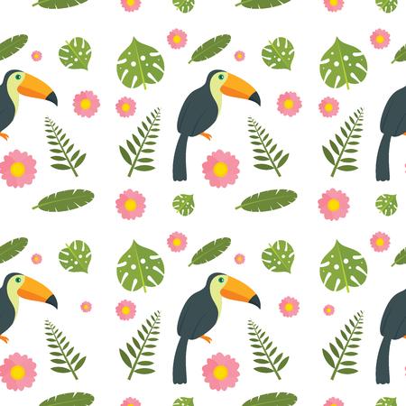 Toucan parrot bird seamless pattern. Flat illustration of 4 toucan parrot bird pattern for web