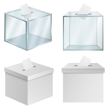 Ballot box democracy mockup set, realistic style Фото со стока