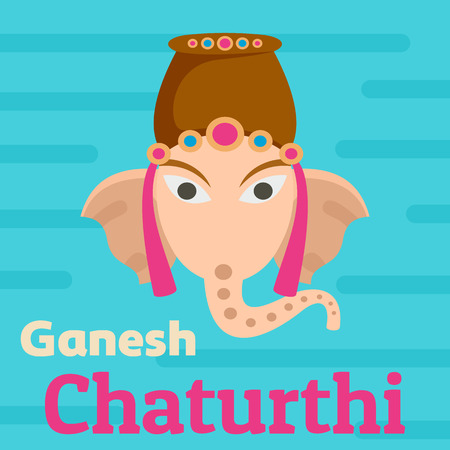 Ganesh Chaturthi background. Flat illustration of ganesh chaturthi background for web design Foto de archivo