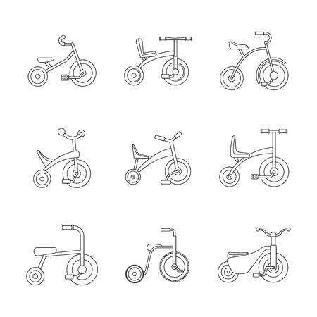 Dreirad Fahrrad Fahrrad Rad Symbole gesetzt, Umriss Stil