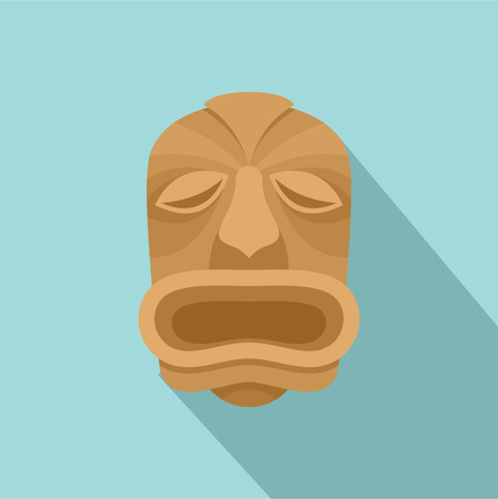 Wood made tiki icon, flat style