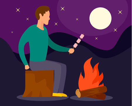Man at camp fire in night background, flat style Stock Photo - 106064591