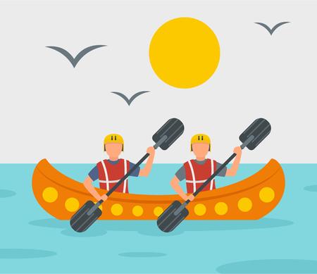 Rafting adventure background, flat style