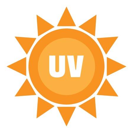Logo del sole uv, stile piatto