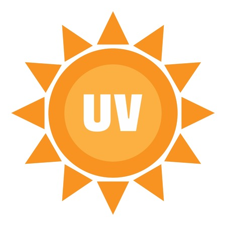 Logotipo de sol ultravioleta, estilo plano