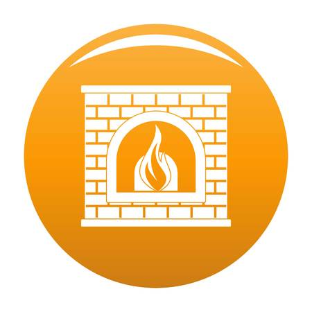 Retro fireplace icon orange Stock Photo