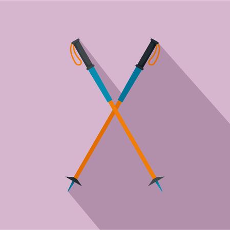 Walking sticks icon, flat style