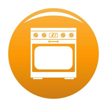 Domestic gas oven icon orange Stock Photo